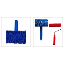 Blue Wood Grain Tool with Rubber Handle Graining Empaistic Stamp Pattern for Wall Painting DIY Decoration Paint Roller 449C