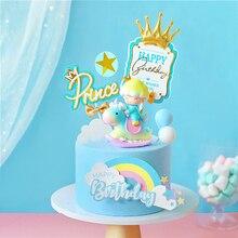 Królewska korona zamek balony w kształcie gwiazdek mały książę chłopiec tort urodzinowy Topper dekoracja deserowa na imprezę piękne prezenty