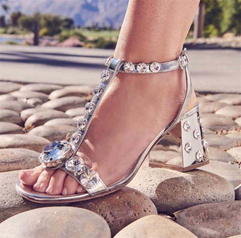 Designer Luxury Summer Pumps Crystal Women Sandals Hot Silver Buckle Strap Ladies Shoes T Strap Shoes Woman Zapatos De Mujer