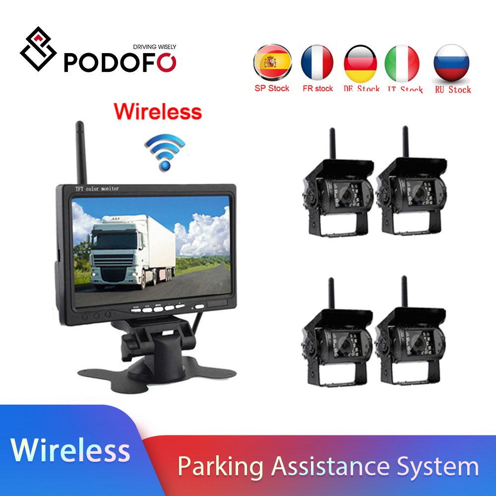 Podofo Wireless 4 Backup Cameras IR Night Vision Waterproof with 7inch Rear View Monitor for RV Truck Bus Parking Assistance System