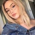 Новые дизайнерские женские очки с защитой от синего света, оптические оправы, металлическая круглая оправа для очков, прозрачные линзы, очк...