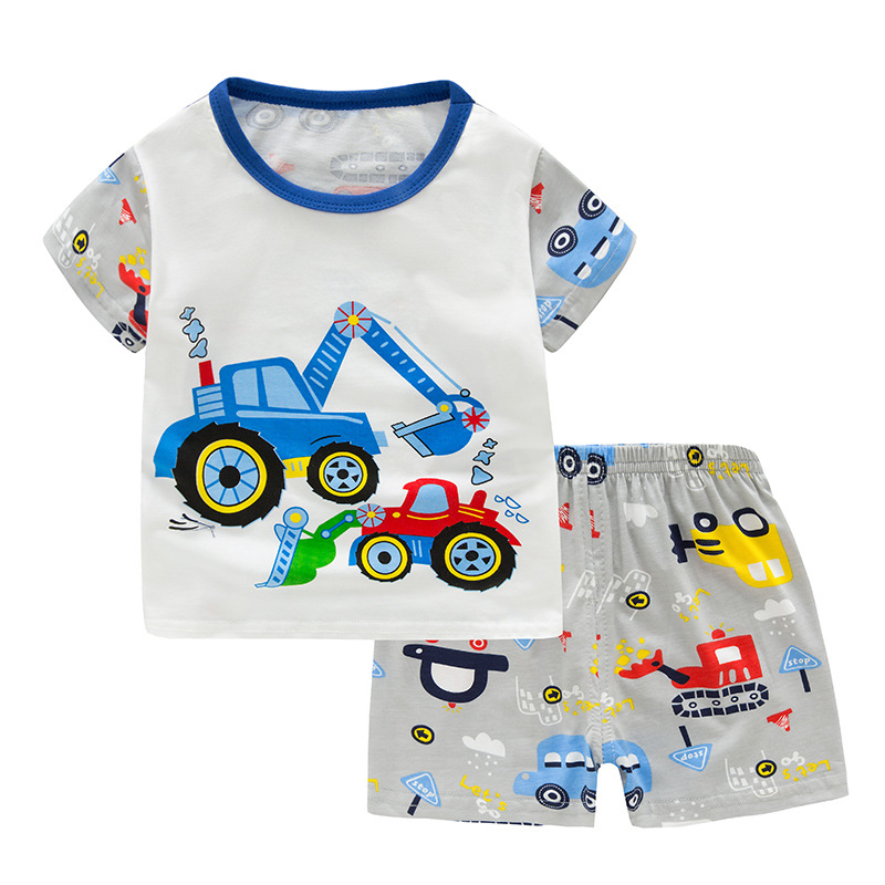 SAILEROAD Children Excavator Pajamas For Boys New Summer Cotton Pyjamas Set Kids Pijama Short Sleeve Home Wear Sleepwear Suits