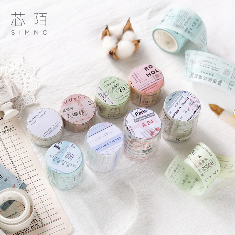 DIY Retro Ticket Travel Vacation Writable Washi Tape Scrapbooking Masking Tape Bullet Journal Stationery Paper
