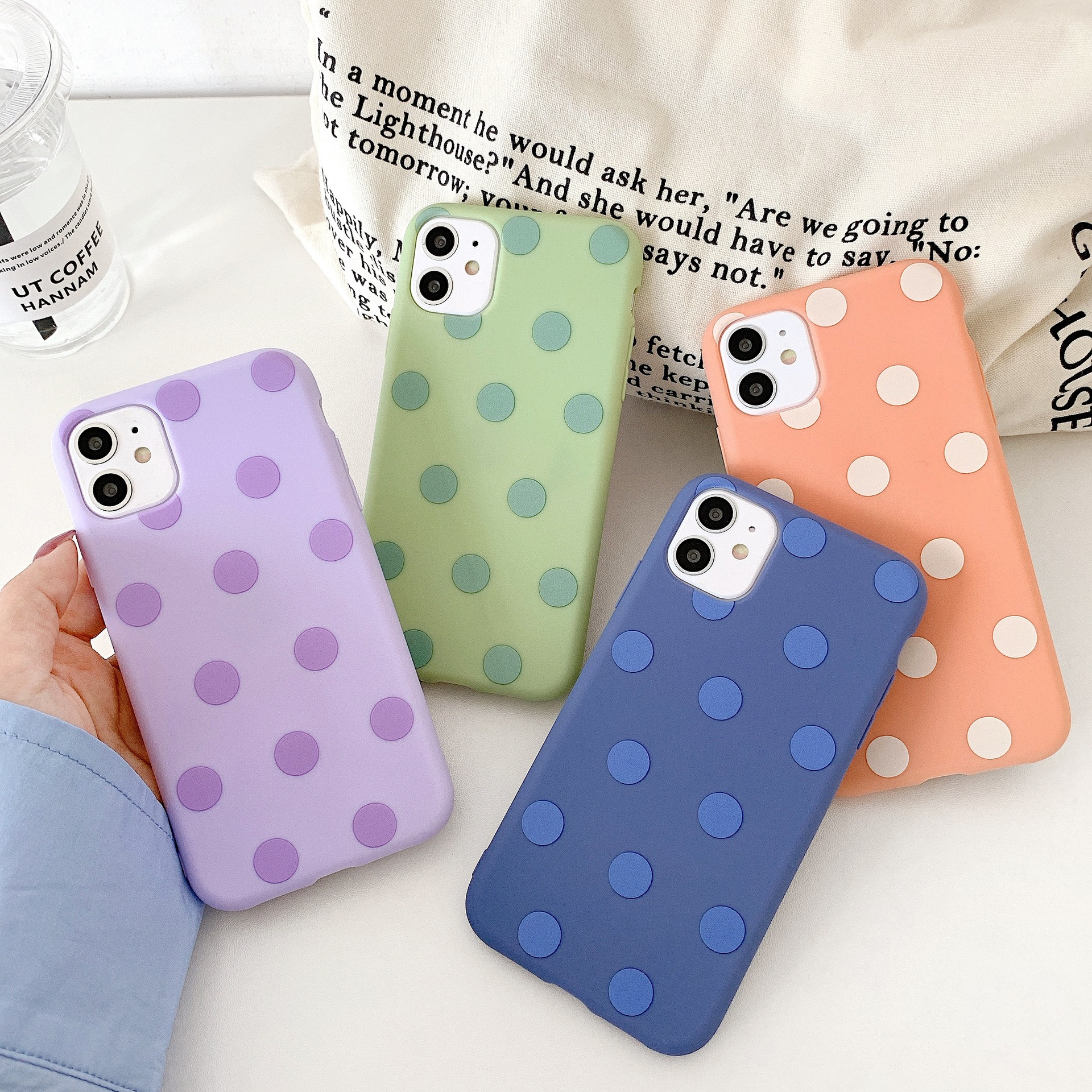 Multicolor Dot Case For iPhone 11 Pro Max SE 2020 X XR XS Max 7 8 Plus Simple Soft Silicone Phone Cover Coque