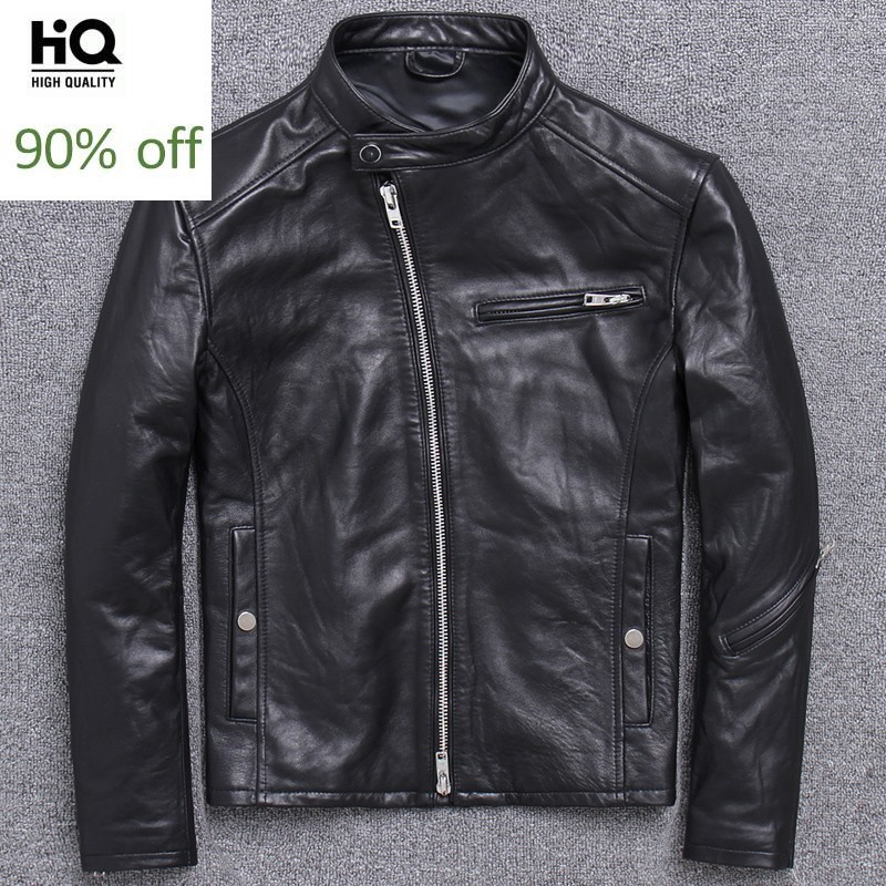 High Quality Mens Natural Sheepskin Biker Jacket Slim Fit Stand Collar Genuine Leather Jacket Windproof Riding Outwear Plus Size