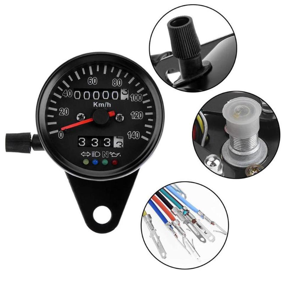 Universal Motorcycle Dual Odometer KMH Speedometer Gauge Meter LED Backlight \