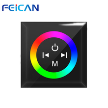 FEICAN DC12-24V 12A Wall mount Touch Smart panel RGB Full Color LED Controller LED Dimmer For SMD 5050 3528 LED Strip Light