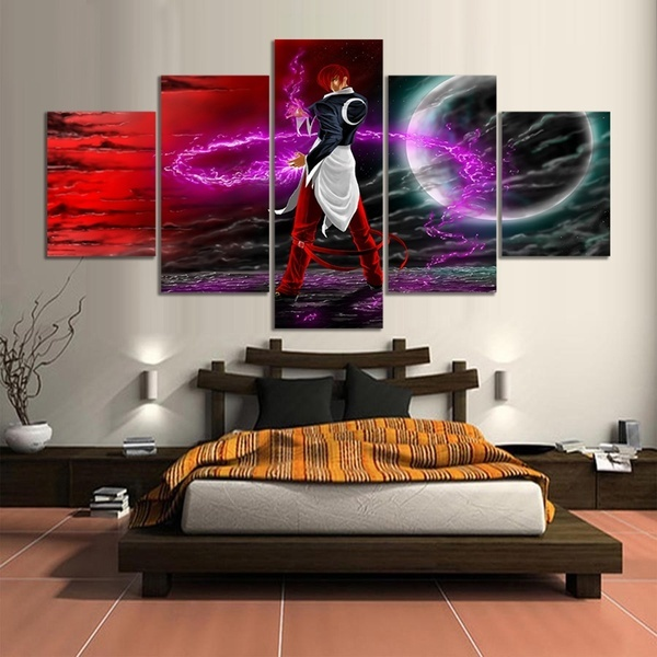 Vente chaude 5 pièces décor à la maison impression peinture à lhuile sur toile mur Art décorations mur toile, jeu vidéo le roi des combattants