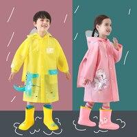2020 Cartoon Dinosaurier Kinder Regen Mantel Kinder Winddicht Poncho Jungen Mädchen Regenbekleidung Student Grün Freien Wasserdichte Regenmäntel