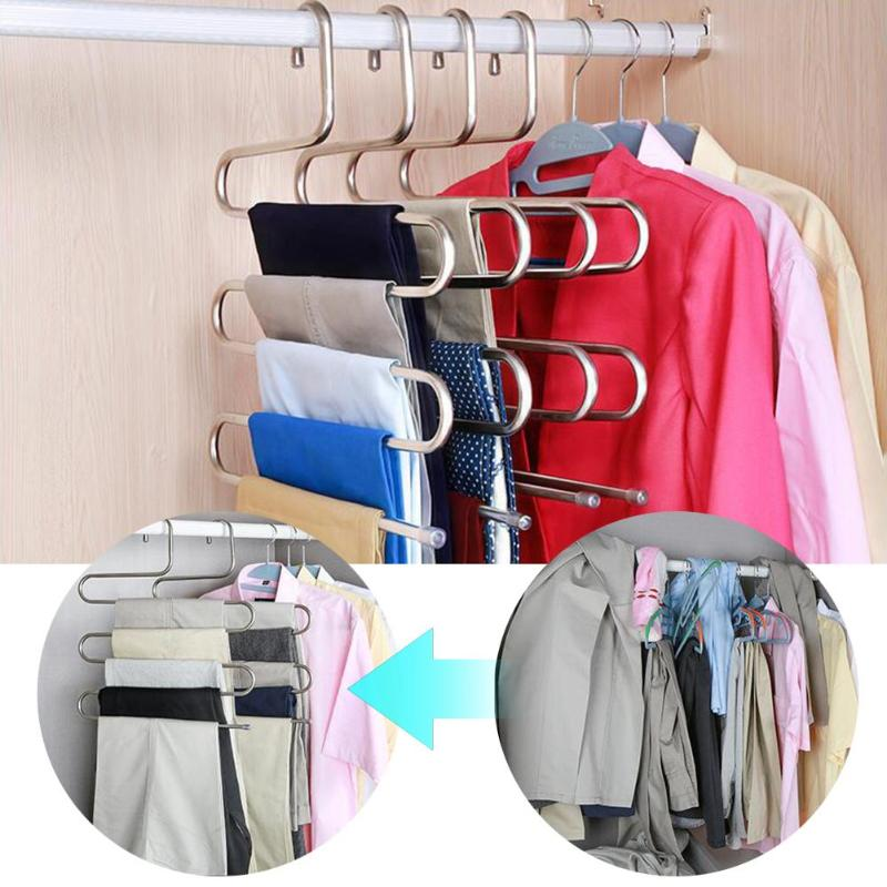 Stainless Steel Clothes Trousers Hanger Saving Space Closet Belt Holder Rack S-type 5 Layers Organizer Hangers for Clothes