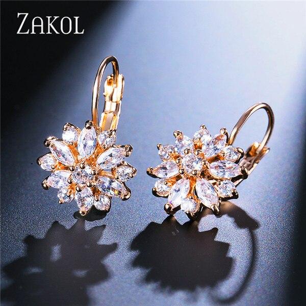 ZAKOL Мода розовое золото Цвет цветок обруч серьги кластера прозрачного хрусталя циркония серьги для Для женщин ювелирные Brincos FSEP609 - Окраска металла: Gold Color