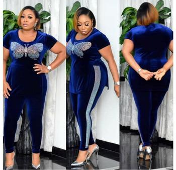Conjunto de 2 piezas de terciopelo para mujer, ropa africana, ropa de...