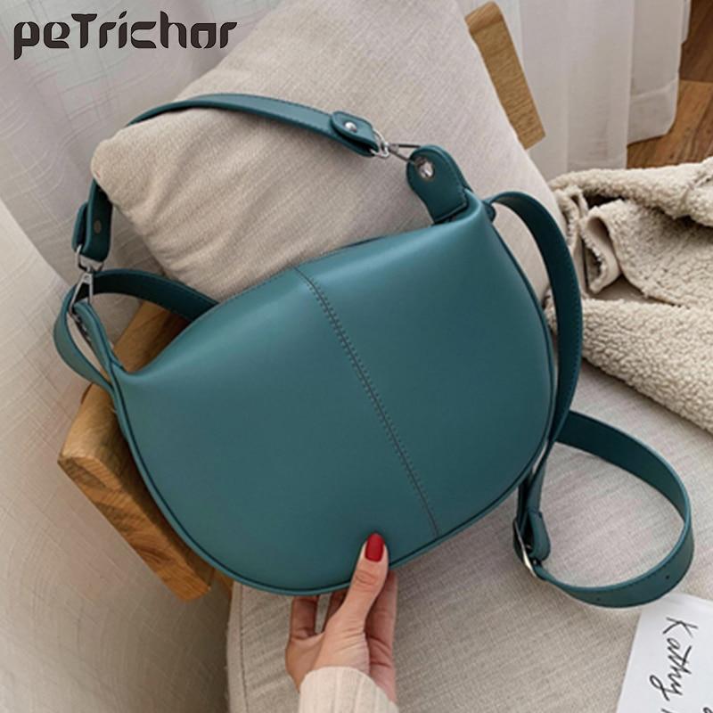 High Capacity Women Crossbody Bag Fashion Semicircle Saddle Bags PU Leather Shoulder Bags For Female Handbags Designer Bolsas
