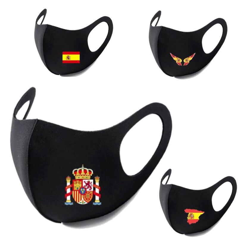 スペイン国旗プリント洗えるイヤーループのフェイス呼吸マスクサイクリングアンチダスト環境口マスクレスピレーターファッションブラックマスク