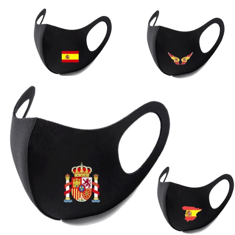스페인 깃발 인쇄 빨 수있는 Earloop 얼굴 호흡 마스크 사이클링 안티 먼지 환경 입 마스크 호흡기 패션 블랙 마스크