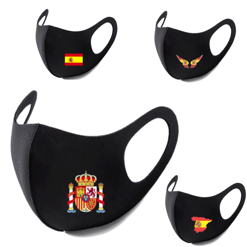 Spain Flag Print Washable Earloop Face Breathing Mask Cycling Anti Dust Environmental Mouth Mask Respirator Fashion Black Mask