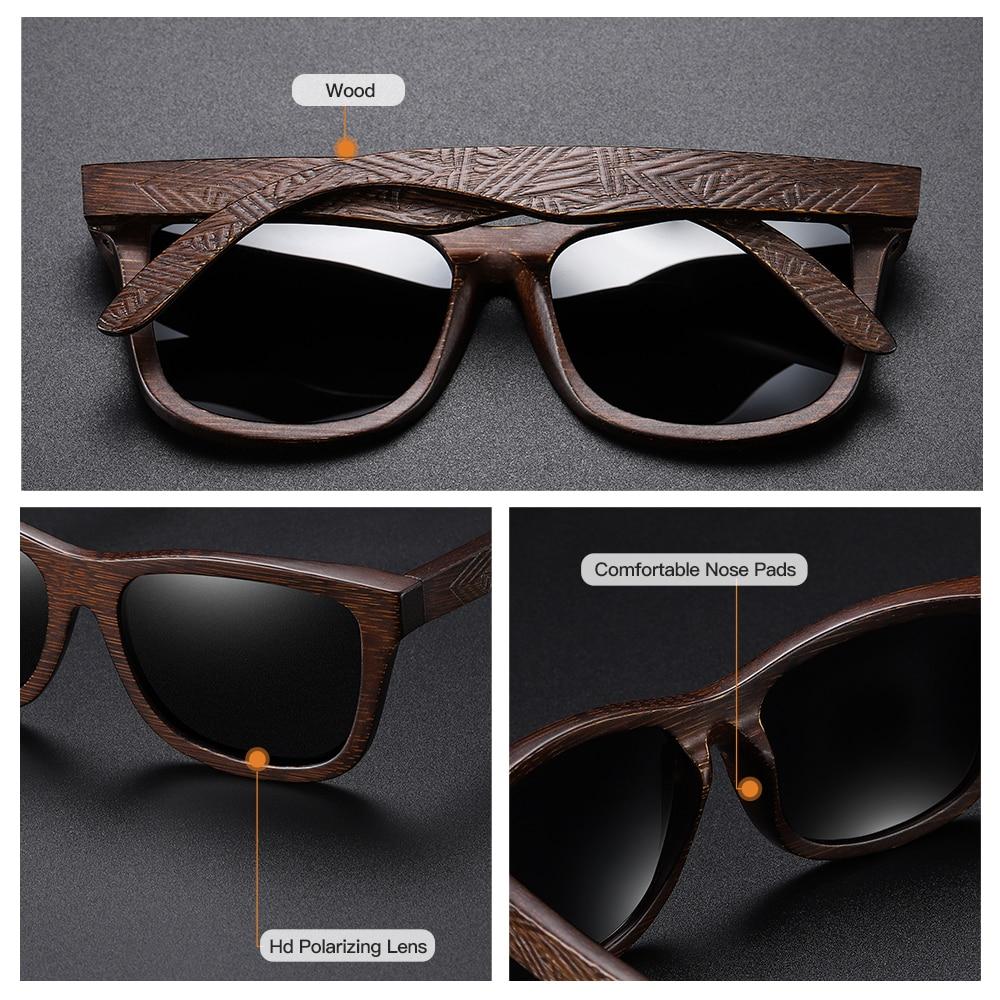 GM Natural Bamboo Wooden Sunglasses Handmade Polarized Mirror Coating Lenses Eyewear With Gift Box 4
