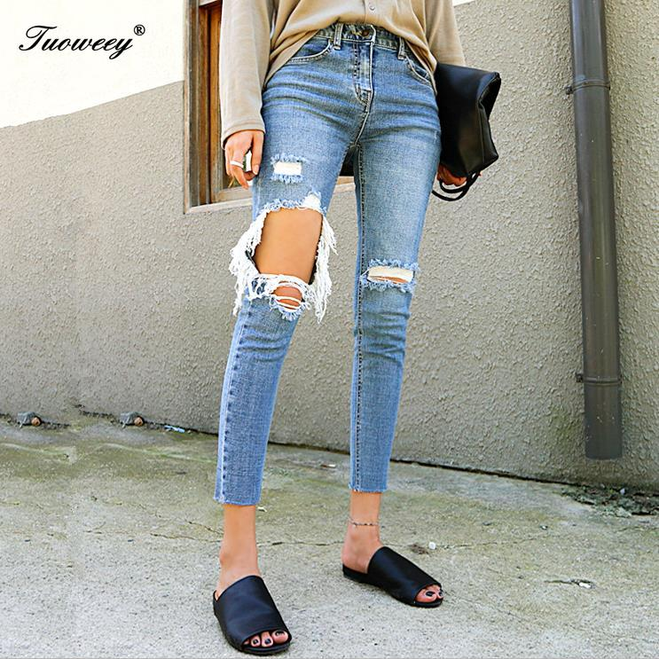 Cotton Female Ankle   Jeans   Sexy Brand Ripped   Jeans   Women Street Denim Pants Big Holes Torn Casual Trousers Skinny Pencil Pants