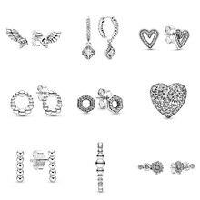 Authentic 925 Sterling Silver Earrings Wings Flowers Love Hexagon Crystal Earrings For Women Wedding Party Jewelry nasia jewelry 925 sterling silver mystery rainbow crystal earrings for women girl ear hook style earrings engagement party decor
