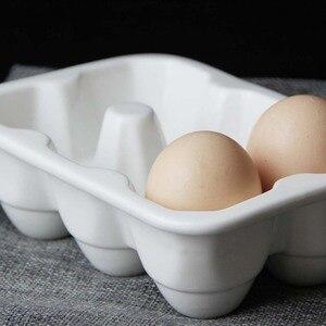 Image 4 - Creative ceramic 6 grid 12 grid egg tray Household kitchen refrigerator fresh egg storage box baking tableware baking egg tray