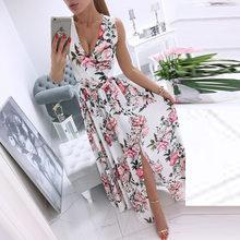 Elegant Floral Print Beach Long Dress Sexy Women Deep V-neck Split Party Dress 2021 Summer Sleeveless Chiffon Maxi Dress Vestido