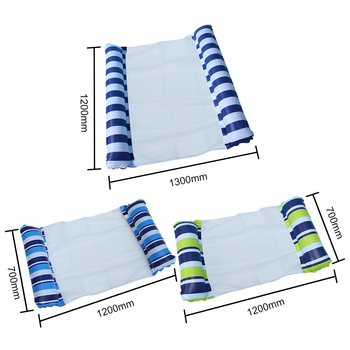 Inflatable Floating Bed Air Mattress PVC Water Hammock Recliner Stripe Mesh Beach Foldable for Swimming Pool Water Amusement 6