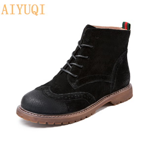 Image 4 - women shoes 2020 spring genuine leather Female short boots  suede women booties  British lace retro trend women naked boots