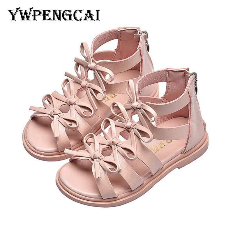 Size 21-36 Baby Toddler Girl Sandals Small Cute Bowties Children Summer Shoes Gladiator Sandals Open-Toed Zip Girls Sandals