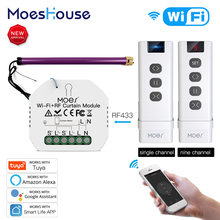 Moeshouse Tuya Smart Leven Wifi RF433 Blind Gordijn Switch Met Afstandsbediening Voor Elektrische Rolluik Google Home Alexa Smart Home
