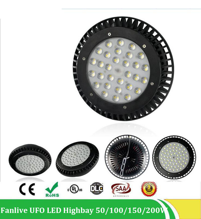 20pcs/lot 50W Led UFO High Bay Flood Light 200W Industrial Lighting IP65 Waterproof High Bay , AC100-265V 5years Warranty