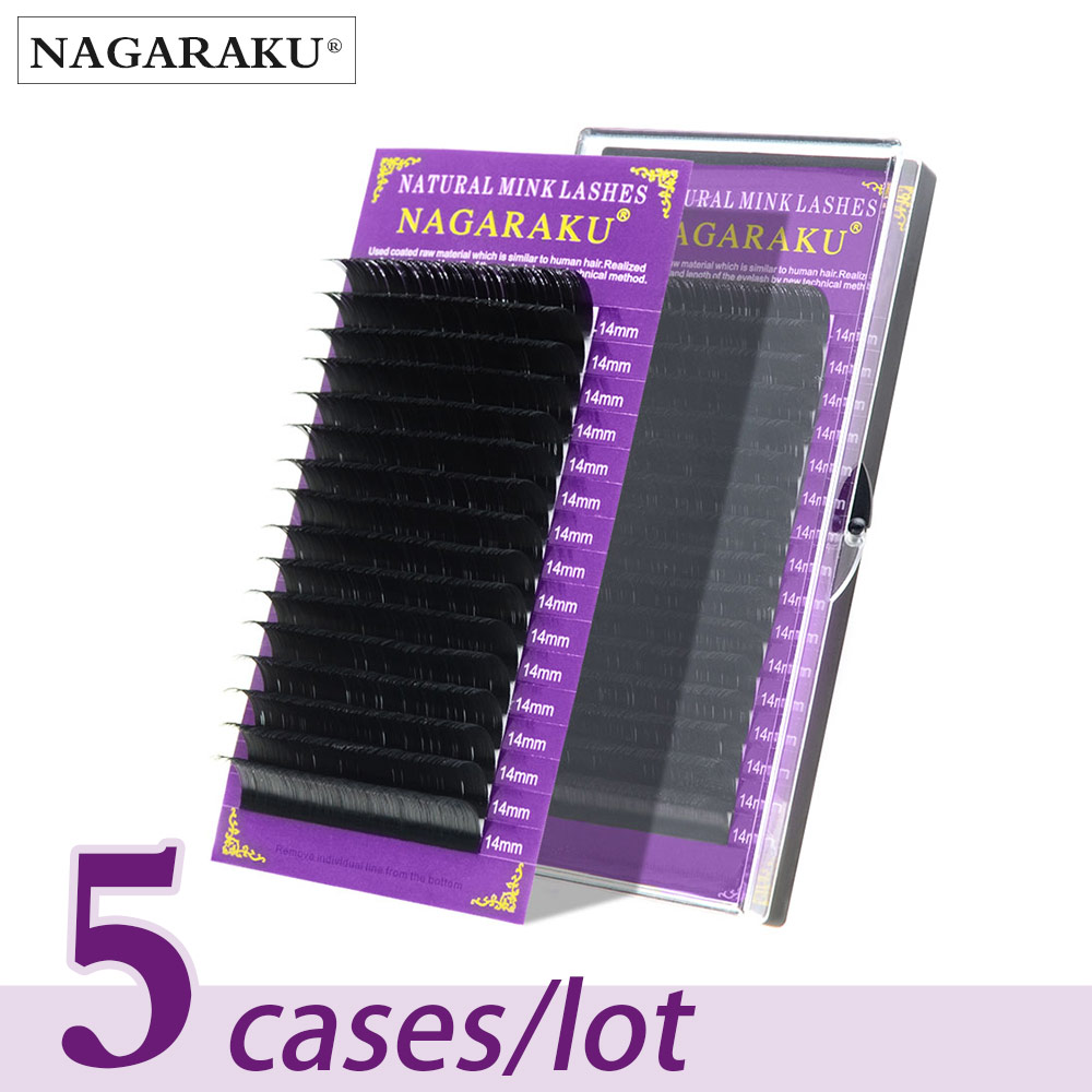 NAGARAKU Individual Eyelash 5 cases set 16rows 0.05mm Synthetic Mink Eyelash Extension Fake Eyelash Extension Soft Naturalmink eyelash extensionseyelash extensionmink eyelashes -