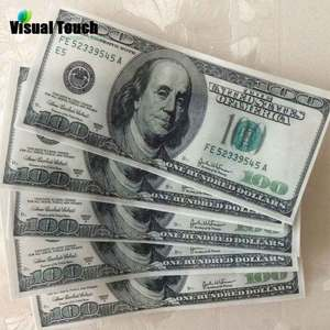 Visual Touch 50pcs Set 100-Dollar-Bill Edible Glutinous Wafer Rice Paper Cake Cupcake Toppers Birthday Wedding Cake Decoration