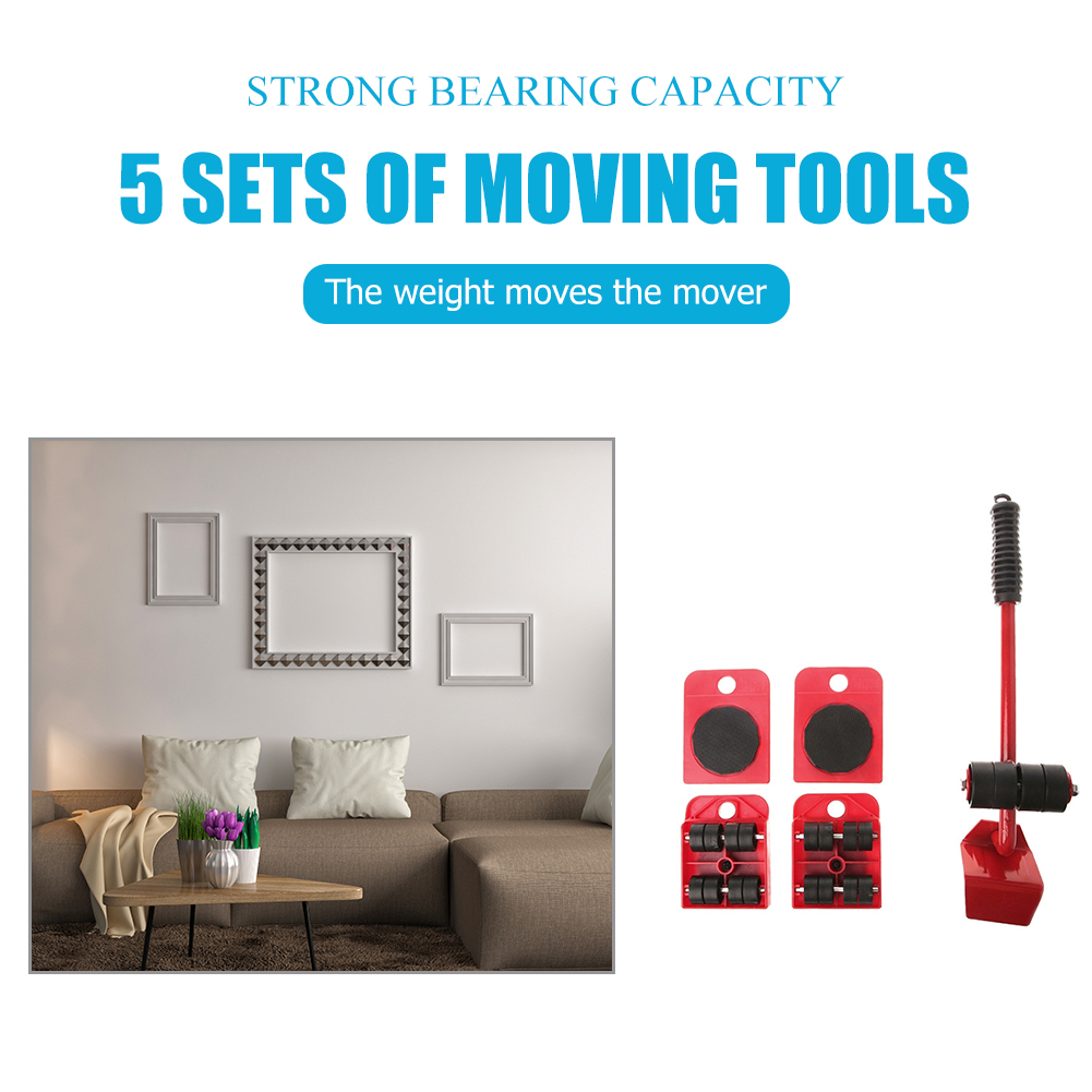 5pcs Furniture Moving Transport Set Lifter Heavy Object Handling Tool Mover Durable Strong Load-bearing Capacity