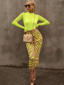 Ocstrade Bandage Skirt Lime Midi Zebra-Print Bodycon Long Fashion Women New-Arrival Club