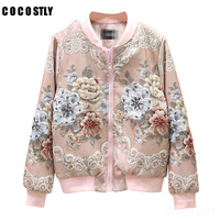 Autumn Luxury Design Beading Diamonds Women Bomber Jacket Overcoat Korean Floral Print Casual Short Jackets Coat Female Outwear