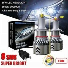 2PCS LED Headlight 8 Sides 2X 55W 30000LM H7 Car Canbus LED Headlights Lamps Kit Bright White 6000K