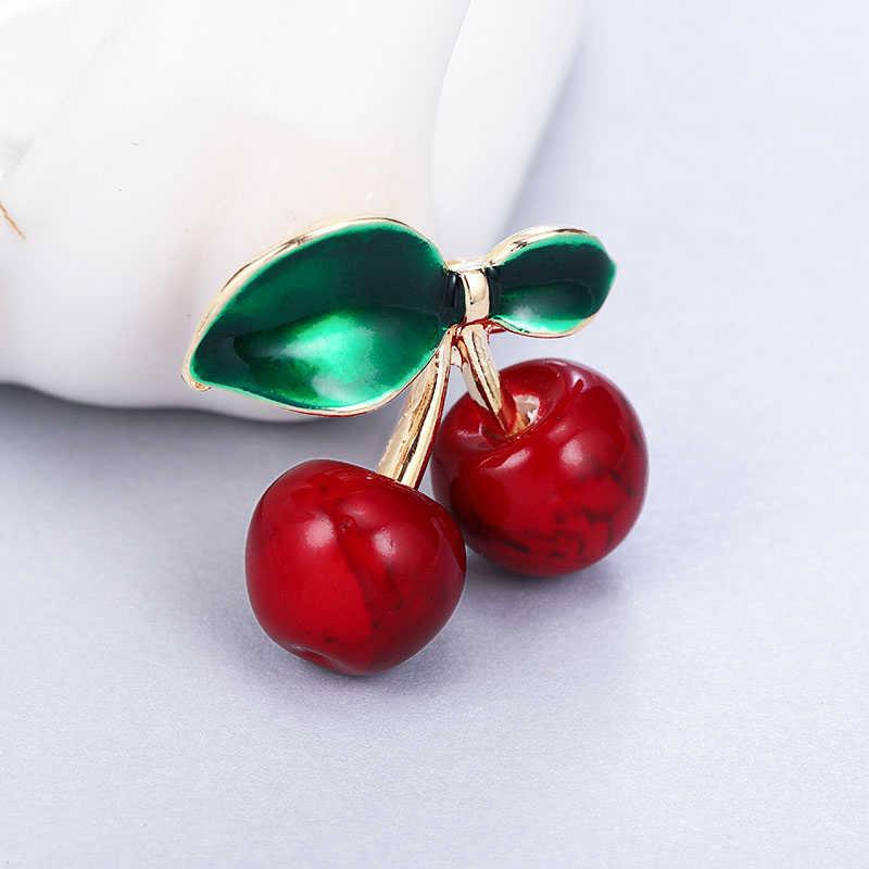 Maikale Pesona Red Green Enamel Cherry Pin Bros Bunga Bros untuk Wanita Perempuan Kerah Sesuai Selendang Kemeja Pesta Aksesoris Hadiah