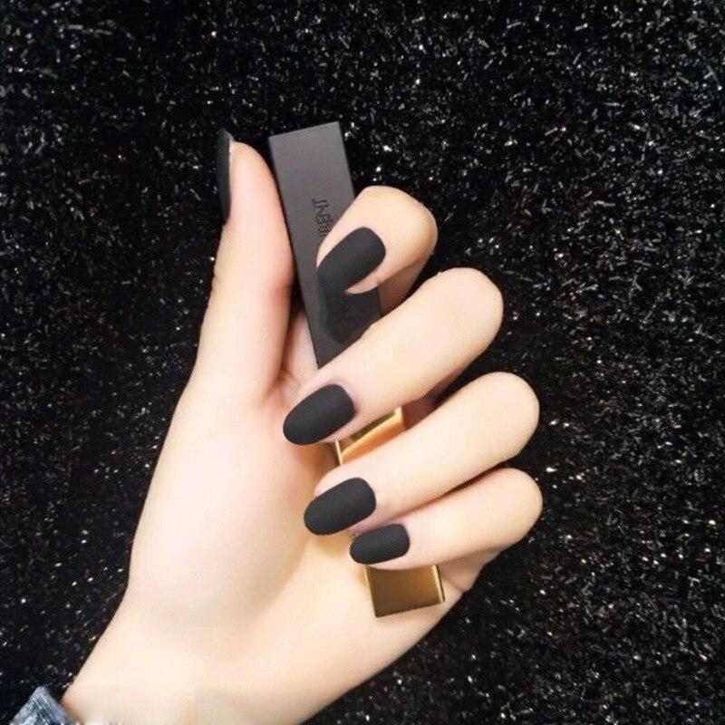 Short Round-Toe Wear Nail Sticker Natural Detox Jia Pian Fake Nails Finished Product Black Matte Dull Polish Online Celebrity Fa