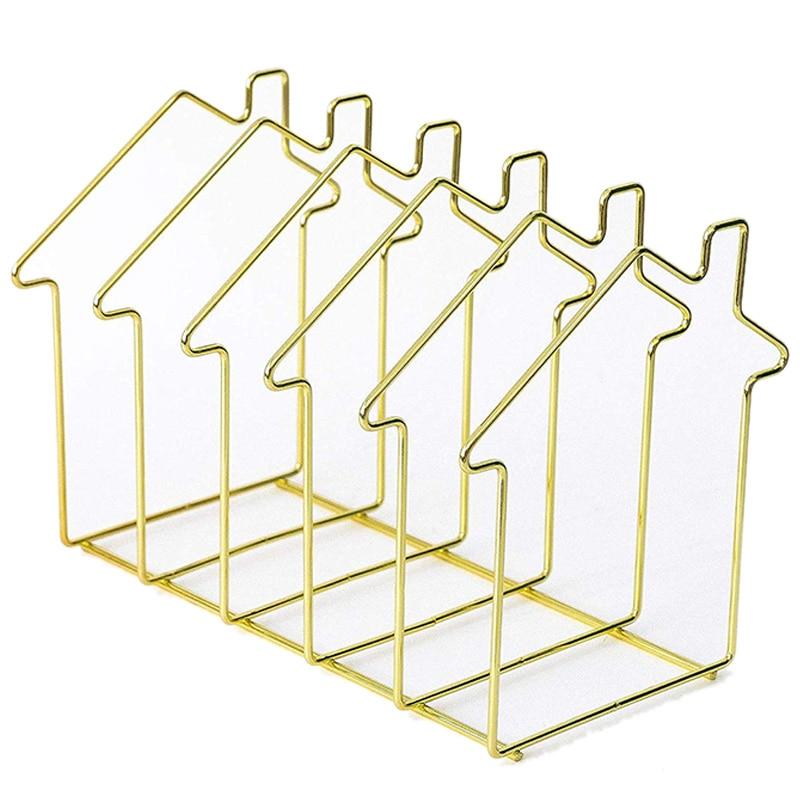 Magazine Holder Gold House Shape File Sorter Metal 5 Slot Desk Organizer Rack For Document Folder Letter And Book
