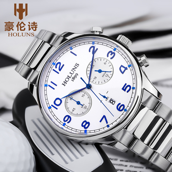 2020 new quartz wristwatch 100m moisture proof dial working steel band strap men's Gift Men's watch horloges Mann