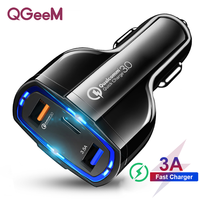 QGEEM QC 3.0 USB C Car <font><b>Charger</b></font> 3-Ports Quick Charge 3.0 Fast <font><b>Charger</b></font> for Car Phone Charging Adapter for iPhone Xiaomi <font><b>Mi</b></font> 9 Redmi image