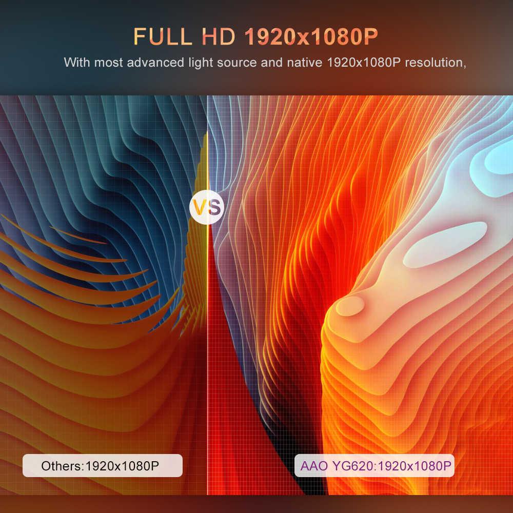 AAO 고해상도 1080p 풀 HD 프로젝터 YG620 LED 투사 지원 해상도 1920x1080P 3D 비디오 슈퍼 밝기6500 루멘AC3 지원 화면비1.56:1  200 인치 큰 화면Zoom 지원 초점조정 YG621 무선 와이파이 멀티 스크린 무선 미러링 디스플레이  내장 스피커 홈 시어터 램프 수명30,000 시간 방열 시스템 저소음 터치 패드 HDMI/VGA/USB 포트 지원