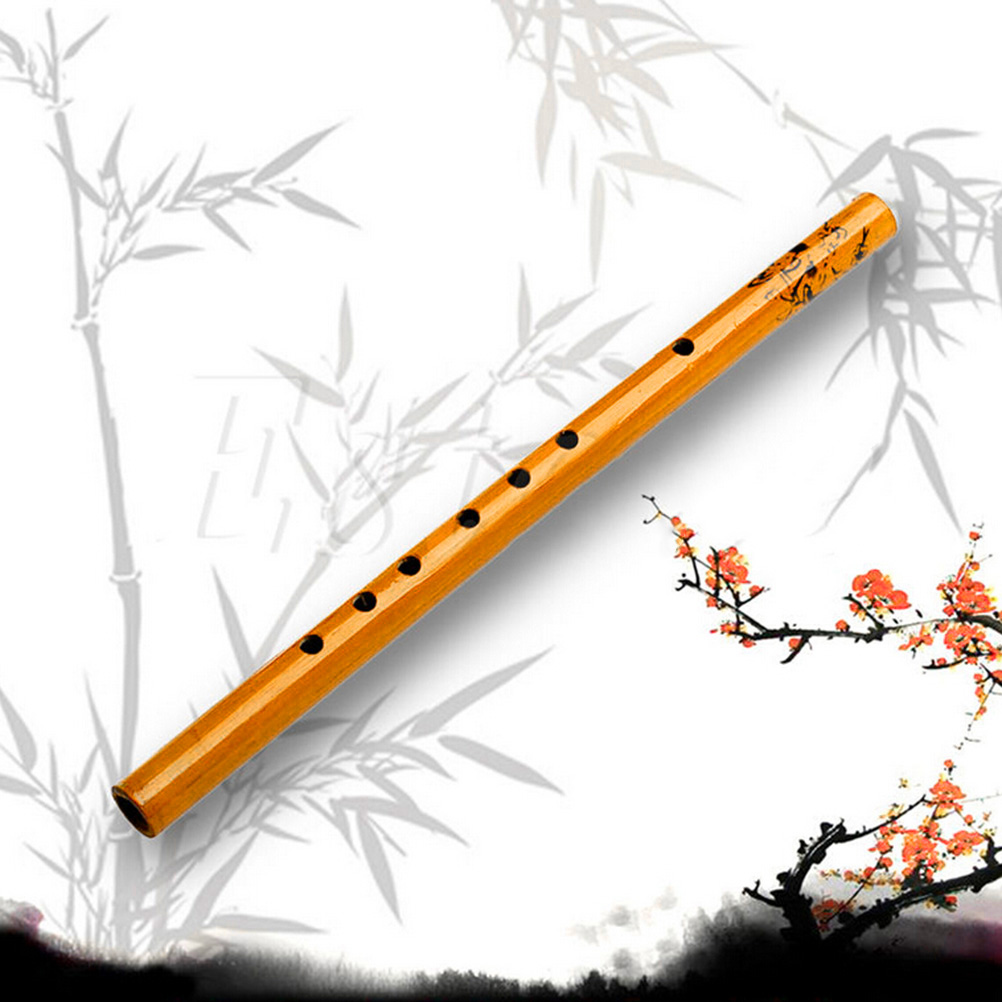 1PC Chinese Traditional 6 Holes Bamboo Flute Vertical Flute Clarinet Student Musical Instrument Wooden Color For Kids Gift