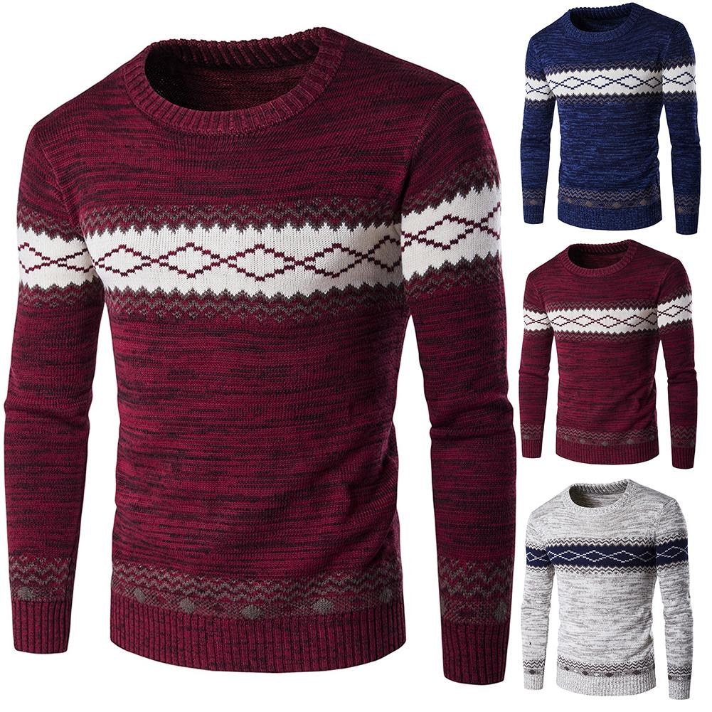 Fashion Men Floral Print O Neck Long Sleeve Knitted Sweater Blouse Top  Casual Acrylic Warm Travel Sweater Size M-2XL