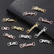 Nome personalizado sapato-fivela de aço inoxidável jóias placa de identificação buckie sapato tags encantos acessórios cor de prata ouro