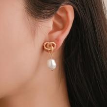 Hot Selling Korean Earring Knot Pearl Personality Hollow Earrings Wholesale Fashion