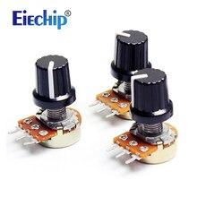 5 pçs/lote WH148 com botões Potenciômetro 10K conjunto de resistências de 15 milímetros Linear Potenciômetro de ajuste de volume