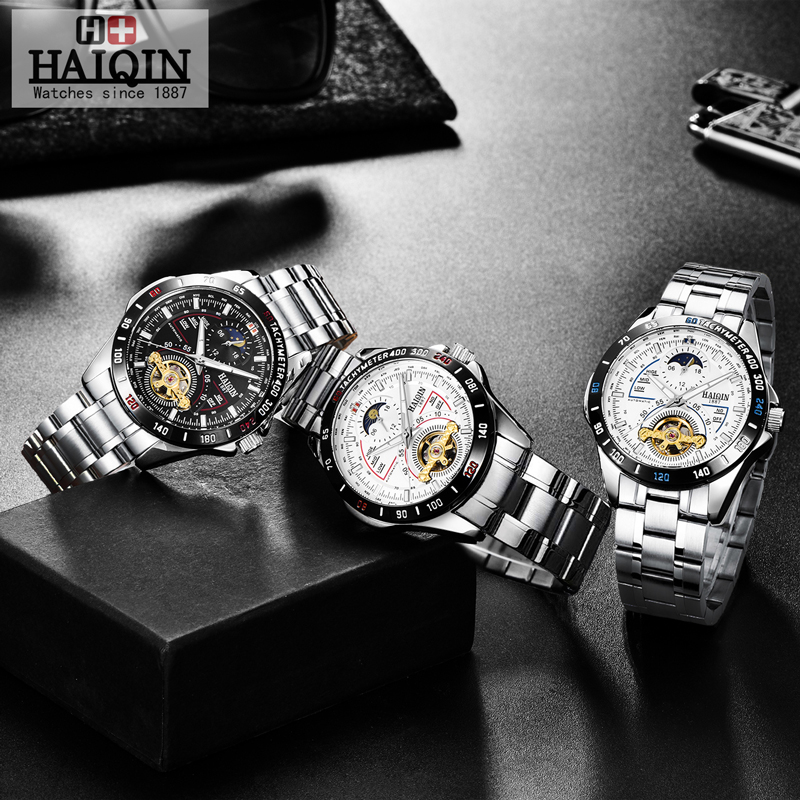 HAIQIN Men's/mens watches top brand luxury watch men mechanical Military waterproof wristwatch mens Tourbillon reloj hombre 2019