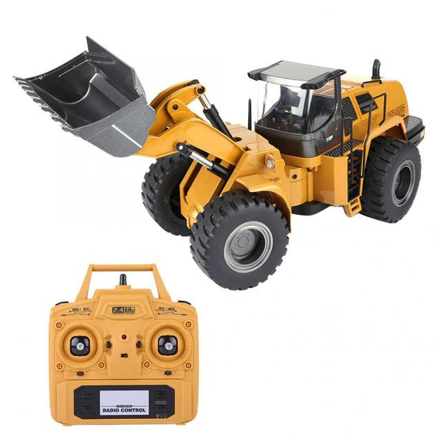 Huina 583 10CH RC Excavator Car 2.4G 1:14 RC Truck Remote Control Metal Arm Excavator Engineering Vehicle kids Toy Gift