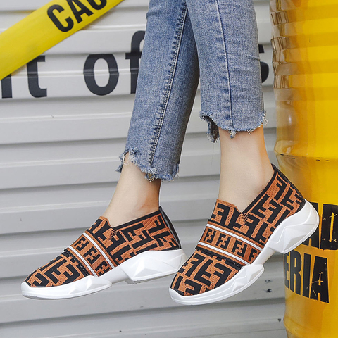 Women Shoes Slip On White Sneakers For Women Vulcanize Shoes Flyknit Basket Femme Super Light Women Casual Shoes Chunky Sneakers Pakistan